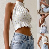Women's Tanks & Camis Ladies Summer Sexy Midriff-baring Camisole Girls Floral Printing Hanging Neck Lace Up Sleeveless Top Backless Base Shi