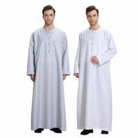 Muslimische Männer Kaftan Kleid Jubba Thobe Abaya Robe Dishdasha Islamic Arabisch Thawb Kleid Kleidung Beiläufige lose Knöpfe Langarm T5MV #