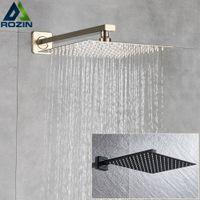 Rozin escovado dourado chuveiro chuveiro casa de banho 8/10/12 Cabeça de chuveiro superior de estilo ultratina com braço de chuveiro montado na parede