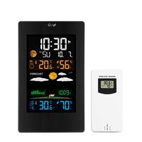 جديد شاشة ملونة لاسلكية ساعة الطقس 3389 درجة الحرارة في الهواء الطلق داخلي والرطوبة ثلاث قناة محطة الطقس متعددة الوظائف