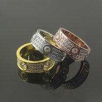 Moda Hot Brand Jewelry Hombres / Mujeres Completo CZ Diamond Love Anillo Oro 3 Color Pareja Anillo Titanio Acero Alto Amante Pulido Anillos
