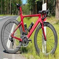 Красная концепция NJRD Matte Carbon Road Полный велосипед с 105 R7010 или R8010 Groupset 60mm Wleelset