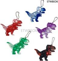 Mini Fidget Toys Keychain Dinosaur Push Pop Bubble Toy for Relieve Stress Desk Toy for Kids Adults