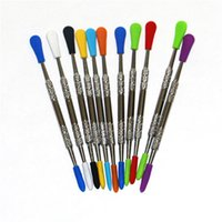smoking 100pcs wax dabber dab tool with silicone tips 120mm stainless steel dabbers cleaning tools glass bowls quartz nails