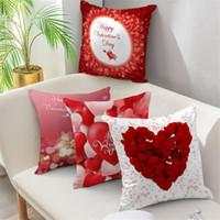 Cojín / almohada decorativa Nanacoba Estuche para el día de San Valentín de la decoración del hogar Cojín de cojín Red Rose Heart Print Pink Throw Funda de almohada para el sofá