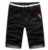 Дешевые продажи летнее лето Новые моды мужские шорты мужчины повседневные шорты хлопчатобумажные мужчины сплошные цвета короткие штаны пляж M-XXXL I8SI #