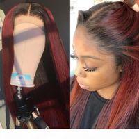 Pelucas de pelo humano frente al frente de lace 13x6 con pelo de bebé 1b 99j coloreado peluca frontal completa envío rápido para mujeres negras