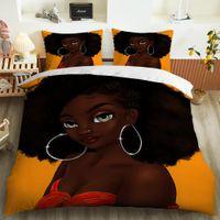 Bedding Sets African Girl king Full size Set machine washable Duvet Cover Polyester Comforter Gift For Women Girls no.22