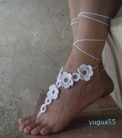 Häkeln barfuß sandalen nackte schuhe fußschmuck strand tragen yoga schuhe bridal anklet braut strand zubehör spitze sandalen x0