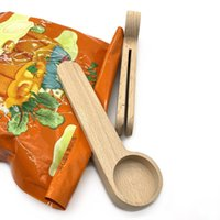 Diseño Cucharada de café de madera con bolso Clip Cucharada Sólido Beech Beech Midure Tea Spoons Spoons Clips Gift Wholesale