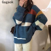 Pulls Femmes Gagaok Femmes Tricoté Vintage 2021 Spring Automne Col O-Col Full Long Lâche Casual Sauvage Chic Chilfover K4143