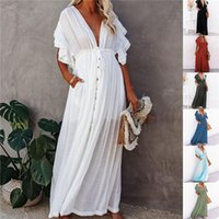Casual Dresses Women Sexy Swimwear Cover-ups Long White Tunic Summer Beach Dress Elegant Plus Size Wear Swim Suit Cover Up