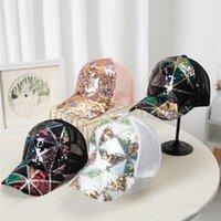 Party Hats Summer Sequin Caps Women's Breathable Sunshade Baseball Hat Fashion Net Cap 4 Colors T500896