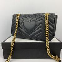 أزياء الحب القلب موجة نمط حقيبة الكتف حقيبة مصمم سلسلة حقائب crossbody محفظة سيدة الجلود الكلاسيكية نمط حمل الحقائب الفاخرة مع أكياس هدية H03G