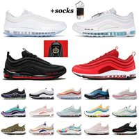 Nike Air Max Airmax 97 OFF White Satan MSCHF x INRI Jesus Sean Wotherspoon Black Bullet UNDEFEATED احذية رجالية  أحذية رياضية  أحذية