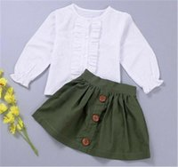 Clothing Sets 2PCS Toddler Kids Baby Girl Clothes 1-5Y White Long Sleeve T-shirt Tops+Green Skirts Autumn Outfit