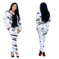 Kadın Moda Siyah Beyaz Çizgili Baskı Omuz Ceket + Pantolon İki - Parça Set Düşük LUV 211009