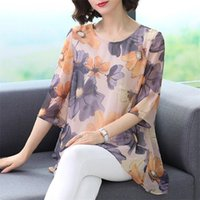 Летние Средние Женские женщины Корейский шифон O-образным вырезом блузка топы женский цветок печати мода свободно плюс размер 4xL рубашка W53 женские блузки