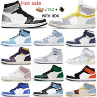 2021 남성 스위치 가벼운 연기 구두 대학교 블루 J Balvin X Jumpman 1 High OG 1S 컬러 Vibras Hyper Royal Women Sneakers Silver Toe Midnight Navy Travis 트레이너 # 58