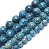 Pierre naturelle Véritable Ocean Bleu Ocean Apatite rond perles en vrac pour bijoux Faire bricolage Bracelets Accessoires 15 6 8 10mm