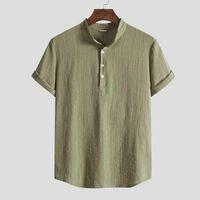 Men's Casual Shirts 2021 Summer Men Short Sleeve Cotton Linen Loose Solid Tops Harajuku Brand Blouse Plus Size Beach Shirt Clothes