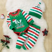 Clothing Sets Baby Christmas Three-piece Clothes Set Stripe Printed Pattern Long Sleeve Romper, Pants And Cap Xmas Suit For Girl Boys