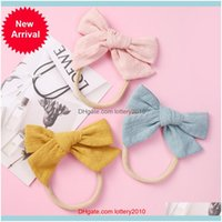 Headbands Jewelry Jewelry24Pc Lot Baby Girls Infant Hair Aessories Handtied Toddlers Tiara Gift Bandage Ribbed Bows Nylon Headband Drop Deli
