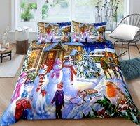 Bedding Sets Santa Claus 3D Printing Quilt Cover Bed Three Piece Set Children's Bedroom Supplies Cartoon Pillow Case