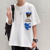 Erkek T-shirt Yaz Kısa Kollu Yavru Trend Pique Yakışıklı Ins Moda Marka Giysi Severler Gevşek Yarım Gömlek