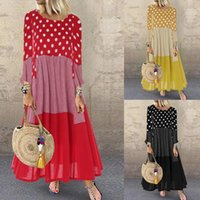 Casual Dresses Women Bohemian Ruffle Sundress Summer 3 4 Sleeve Round Neck Plaid Dot Printed Long Dress Loose Splicing Party Vestidos