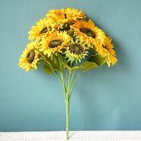 Decorative Flowers & Wreaths Big Sunflower Bouquet Artificial Silk Living Room Decoration Flores Artificiales Garden Decor