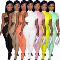 Frauen asymmetrische Grubenstreifen Brust umwickelte Jacke Split Hosen Drei Stück Sätze 2021 Neue feste Farbe Aushöhlen Kurzarm Hosenanzug