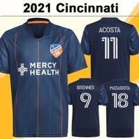 2021 Cincinnati Mens FC Soccer Jerseys Wastton Garza Kubo Brenner Casa Camisa Azul de Futebol Azul Matarrita Acosta Manga Curta Uniformes