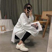 Mulher camiseta outono e inverno branco manga comprida slit superior ropa mujer camisetas