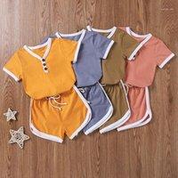 مجموعات الملابس opperiaya الصيف الأطفال t-shirt السراويل عارضة مجموعة الأزياء الخامس الرقبة بلون زر قصيرة الأكمام قمم ضمادة السراويل 1