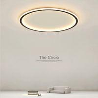 Modern LED ultra-thin ceiling light rectangular round bedroom living room black and white Acrylic lamp shade