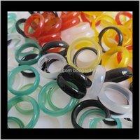 Solitaire ringar dropp leverans 2021 olika färg natursten bredd 6mm agat ring smycken hand cirkel ishining smycken för kvinnor män ps1692