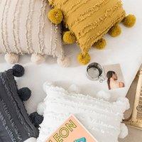 Couvercle d'oreiller à glands floral blanc avec pompom jaune gris coussin décoratif housse de décoration de maison décor à la maison étui d'oreiller 45x45cm OWD5705