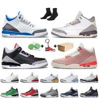 Nike Air Jordan 3 Retro 3 3s Stock x 2020 mit dem Kasten Jumpman 3 3s Herren-Basketball-Schuhe Laser orange UNC Red Cement Blau SEOUL Trainer Männer Turnschuhe