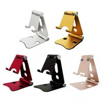 Cell Phone Mounts & Holders Mini Portable Desktop Aluminum Alloy Double Folding Mobile Tablet Stand Metal Live Support