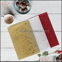 Greeting Event Festive Party Supplies Home & Gardengreeting Cards 10Sets Flower Laser Cut Wedding Invitations Card Elegant Favors Invitation