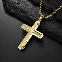 High Quality Fine Titanium Steel Neck Jewelry Christian Crucifixion Bible Cross Pendant Necklaces For Men 2021 Designer Amulet
