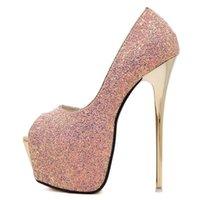 Dress Shoes Akexiya 2021 Platform Super High Heels Woman Sexy Bling Pumps Party Black Pink Blue Size 45 Women