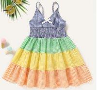 Summer Girls Dress Strap Plaid Bow Sleeveless Party Princess Cute Children Baby Kids Clothing