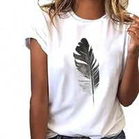 Womens Tops In Stock T Shirt Women Loose Short Sleeved Leaf ...