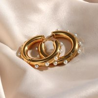 Hoop & Huggie 2021 Elegant Tarnish Free Chunky Earrings With Small Dainty Pearl Stainless Steel Gold Plated For Women