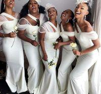 African Black Girls Bridesmaid Dresses 2021 Sexy Mermaid White Satin Long Wedding Party Dress Women Formal Gowns Custom
