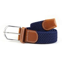 Wholesale Men Braided Fabric Elastic Woven Stretch Jeans Belts