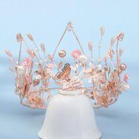 Hair Clips & Barrettes Modern Super Fairy Gold Color Crystal Butterfly Pearl Bridal Tiaras Crown Rhinestone Pageant Diadem Wedding Dress Hea