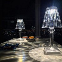 Night Lights USB Crystal Diamond Table Lamp Acrylic Decoration LED For Bar Home Bedroom Coffee Party Fancy Romantic Xmas Gift